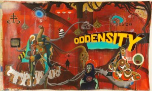 Doze  Green -  <strong>Titanic O.D.Density</strong> (2006<strong style = 'color:#635a27'></strong>)<bR /> Mixed Media on Canvas,   47 x 82 inches