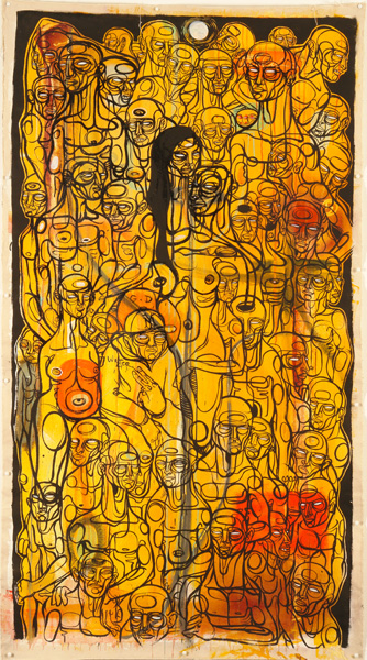 Doze  Green -  <strong>Untitled</strong> (<strong style = 'color:#635a27'></strong>)<bR /> Mixed Media on Canvas,   71 x 40 inches