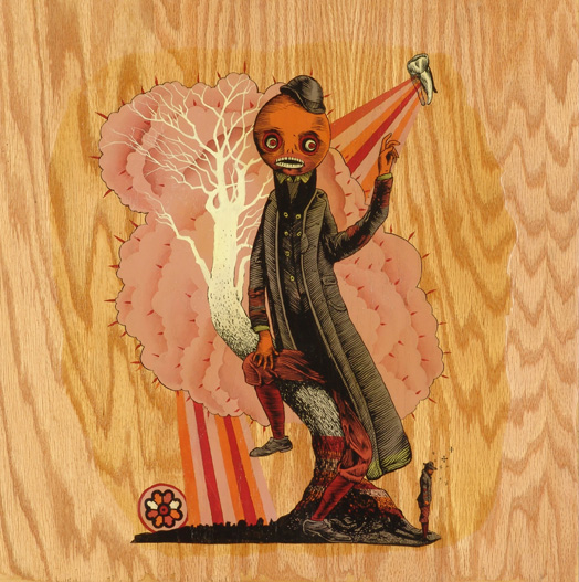 AJ  Fosik -  <strong>Spare Me O'er</strong> (2005<strong style = 'color:#635a27'></strong>)<bR /> House Paint and Shoe Polish on Wood 19 x 19 inches