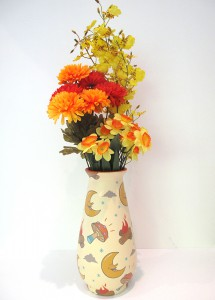 Dabs Myla    -  <strong>Vase #1</strong> (2014<strong style = 'color:#635a27'></strong>)<bR /> acrylic on ceramic vase,   10.5 x 4.5 inches  (26.67 x 11.43 cm)