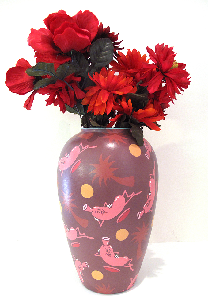 Dabs Myla  &nbsp -  <strong>Vase #4</strong> (2014<strong style = 'color:#635a27'></strong>)<bR /> acrylic on ceramic vase,   13 x 7.5 inches  (33.02 x 19.05 cm)