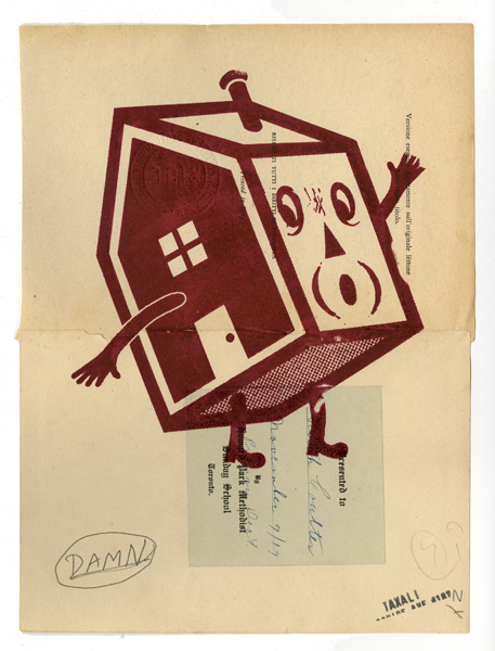 Gary  Taxali -  <strong>Damn House</strong> (2009<strong style = 'color:#635a27'></strong>)<bR /> mixed media on paper,   image size: 9 3/4 x 7 1/4 inches,   framed size: 14 1/2 x 12 inches