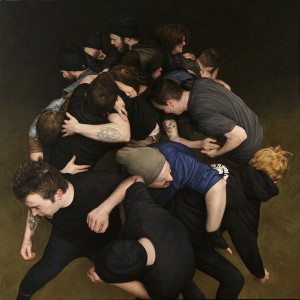 Dan  Witz -  <strong>70 Commercial Street (square)</strong> (2011<strong style = 'color:#635a27'></strong>)<bR /> oil and digital media on canvas,   42 x 42 inches (106.68 x 106.68 cm)  43.25 x 43.25 x 2.5 inches, framed