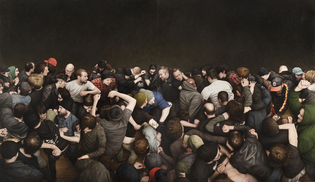 Dan  Witz -  <strong>ABC No Rio</strong> (2011<strong style = 'color:#635a27'></strong>)<bR /> oil and digital media on canvas,   55.75 x 96 inches   (142.24 x 243.84 cm)