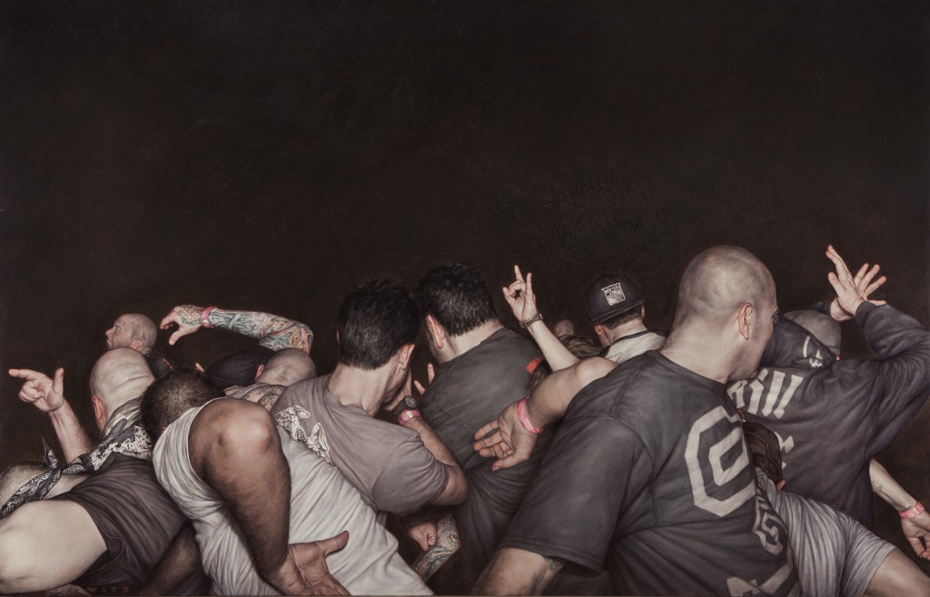 "Dan  Witz -  <strong>Agnostic Front</strong> (2014<strong style = 'color:#635a27'></strong>)<bR /> <span style=""color: rgb(102, 102, 102); font-family: Avenir, Helvetica, Arial, sans-serif;"">oil and digital media on canvas'</span>,   48 x 76 inches  (121.92 x 193.04 cm)"