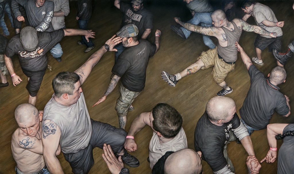 "Dan  Witz -  <strong>Agnostic Front Circle Pit</strong> (2014<strong style = 'color:#635a27'></strong>)<bR /> <span style=""color: rgb(102, 102, 102); font-family: Avenir, Helvetica, Arial, sans-serif;"">oil and digital media on canvas</span>,   48 x 82 inches  (121.92 x 208.28 cm)"