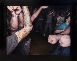 Dan  Witz -  <strong>Agnostic Front (Crowd Study)</strong> (2014<strong style = 'color:#635a27'></strong>)<bR /> oil on canvas,   15 x 20 inches  (38.1 x 50.8 cm)