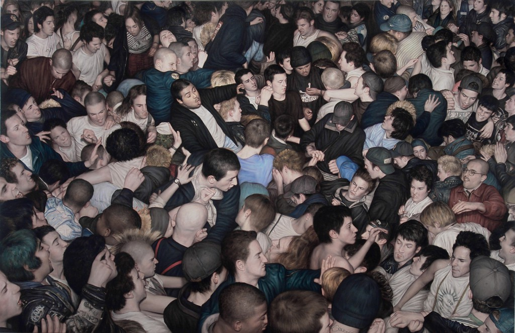 Dan  Witz -  <strong>Big Mosh Pit</strong> (2007<strong style = 'color:#635a27'></strong>)<bR /> oil and mixed media on canvas,   45.5 x 69.25 inches   (115.6 x 175.9 cm),   46 x 70 inches, framed