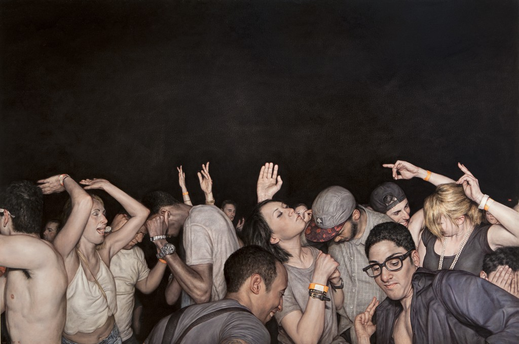 Dan  Witz -  <strong>Brite Nite 2</strong> (2014<strong style = 'color:#635a27'></strong>)<bR /> oil and digital media on canvas,   48 x 72 inches  (121.92 x 182.88 cm)
