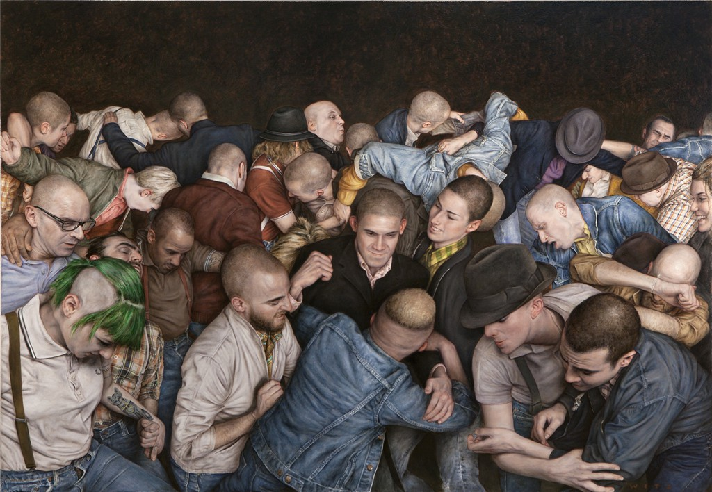 "Dan  Witz -  <strong>Byronesque</strong> (2013<strong style = 'color:#635a27'></strong>)<bR /> <span style=""color: rgb(102, 102, 102); font-family: Avenir, Helvetica, Arial, sans-serif;"">oil and digital media on canvas</span>,   40 x 58 inches  (101.6 x 147.32 cm)"