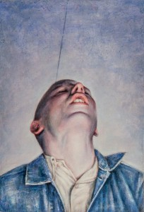 "Dan  Witz -  <strong>Byronesque - Blue Study</strong> (2013<strong style = 'color:#635a27'></strong>)<bR /> <span style=""color: rgb(102, 102, 102); font-family: Avenir, Helvetica, Arial, sans-serif;"">oil and digital media on canvas</span>,   16.5 x 11 inches  (41.91 x 27.94 cm)"