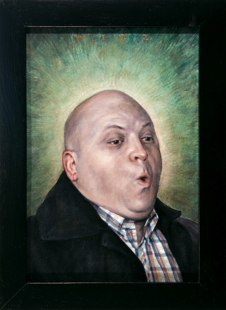 """Dan  Witz -  <strong>Byronesque - Jonathan</strong> (2013<strong style = 'color:#635a27'></strong>)<bR /> <span style=""""color: rgb(102, 102, 102); font-family: Avenir, Helvetica, Arial, sans-serif;"""">oil and digital media on canvas</span>,   18 x 13 inches  (45.72 x 33.02 cm)"""