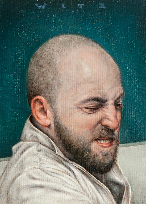 Dan  Witz -  <strong>Byronesque - Justin</strong> (2013<strong style = 'color:#635a27'></strong>)<bR /> oil and digital media on canvas,   15 x 11 inches  (38.1 x 27.94 cm)