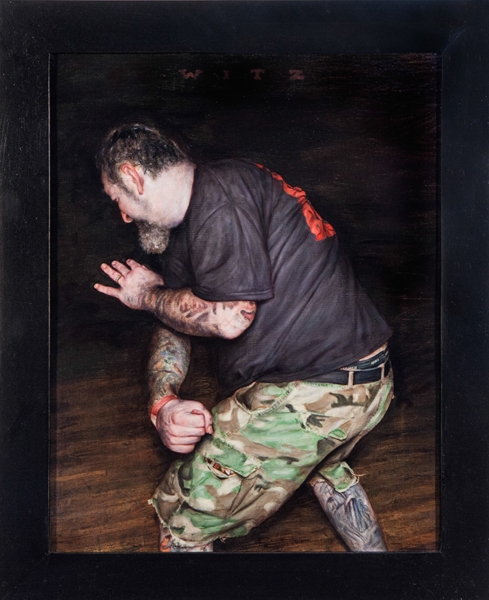 Dan  Witz -  <strong>Agnostic Front - Camo Study</strong> (2014<strong style = 'color:#635a27'></strong>)<bR /> oil and digital media on canvas,   15 x 9 inches  (38.1 x 22.86 cm)