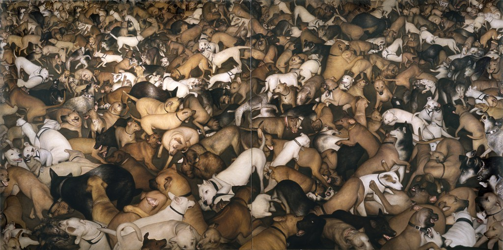 Dan  Witz -  <strong>Dog Diptych</strong> (2003<strong style = 'color:#635a27'></strong>)<bR /> oil and mixed media on canvas,   44 x 88 inches  (111.76 x 223.52 cm)