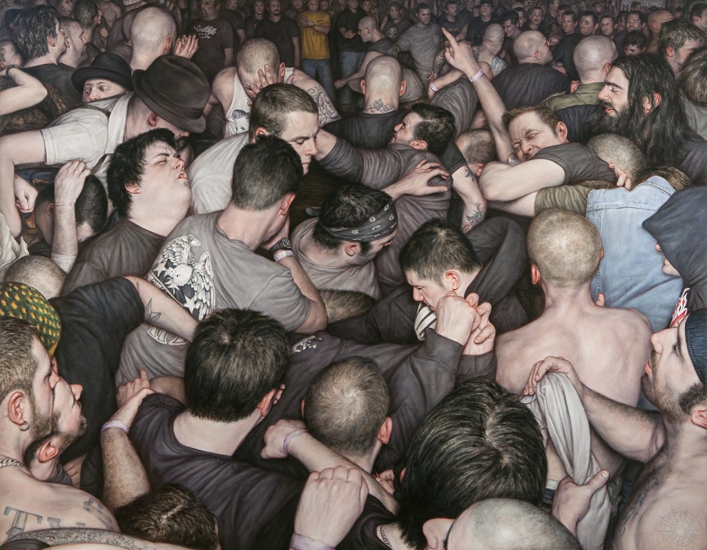Dan  Witz -  <strong>Free For All</strong> (2014<strong style = 'color:#635a27'></strong>)<bR /> oil and digital media on canvas,   42 x 54 inches  (106.68 x 137.16 cm)