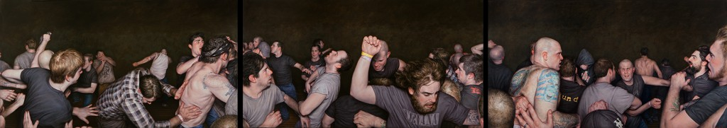 """Dan  Witz -  <strong>Vision of Disorder Frieze Triptych</strong> (2013<strong style = 'color:#635a27'></strong>)<bR /> <span style=""""color: rgb(102, 102, 102); font-family: Avenir, Helvetica, Arial, sans-serif;"""">oil and digital media on canvas</span>,   24 x 144 inches  (66.04 x 121.92 cm)  each panel 26 x 48 inches"""