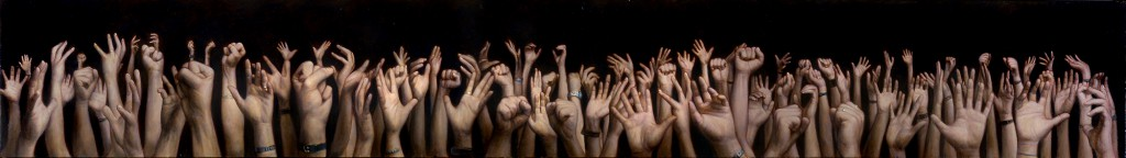 Dan  Witz -  <strong>Hand Frieze</strong> (2000<strong style = 'color:#635a27'></strong>)<bR /> oil and mixed media on canvas,   12 x 84 inches (30.48 x 213.36 cm)  14 x 85.75 x 1.5 inches, framed