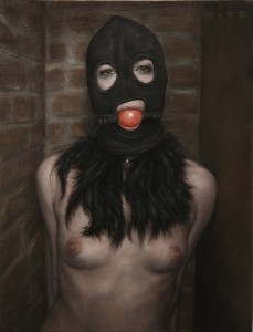 Dan  Witz -  <strong>Hooded Girl with Ball Gag</strong> (2011<strong style = 'color:#635a27'></strong>)<bR /> oil and digital media on canvas,   20 x 15 inches (50.8 x 38.1 cm)  27.5 x 27.25 inches, framed
