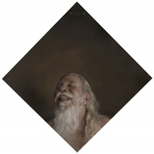 Dan  Witz -  <strong>KW</strong> (2011<strong style = 'color:#635a27'></strong>)<bR /> oil and digital media on canvas,   27.5 x 27.25 inches, framed  (69.85 x 69.85 cm)