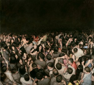 Dan  Witz -  <strong>Lotus Lounge</strong> (2010<strong style = 'color:#635a27'></strong>)<bR /> oil and digital media on canvas,   51 x 57 inches, framed  (129.54 x 144.78 cm)