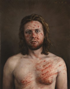 Dan  Witz -  <strong>Man of Sorrows</strong> (2011<strong style = 'color:#635a27'></strong>)<bR /> oil and digital media on canvas,   20 x 15 inches (50.8 x 38.1 cm)  24 x 19.5 inches, framed