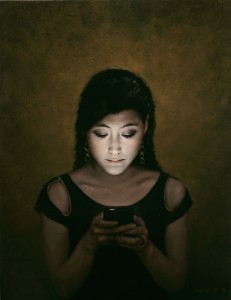 Dan  Witz -  <strong>May</strong> (2010<strong style = 'color:#635a27'></strong>)<bR /> oil and digital media on canvas,   26 x 20 inches (66.04 x 50.8 cm)  27.5 x 21.5 x 2.5 inches, framed