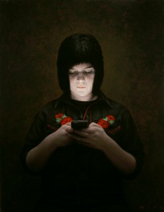 Dan  Witz -  <strong>Mo</strong> (2010<strong style = 'color:#635a27'></strong>)<bR /> oil and digital media on canvas,   36 x 28 inches (94.44 x 71.12 cm)  37.5 x 29.5 x 2.5 inches, framed