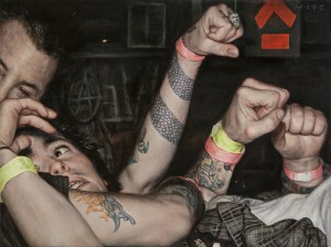 Dan  Witz -  <strong>Mosh Pit Study (Anarchy)</strong> (2014<strong style = 'color:#635a27'></strong>)<bR /> oil and digital media on canvas,   15 x 20 inches  (38.1 x 50.8 cm)