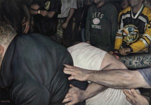Dan  Witz -  <strong>Mosh Pit Study (Jets)</strong> (2014<strong style = 'color:#635a27'></strong>)<bR /> oil and digital media on canvas,   14 x 20 inches  (35.56 x 50.8 cm)