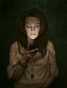 Dan  Witz -  <strong>Nadeen</strong> (2010<strong style = 'color:#635a27'></strong>)<bR /> oil and digital media on canvas,   26 x 20 inches (66.04 x 50.8 cm)  27.5 x 21.5 x 2.5 inches, framed