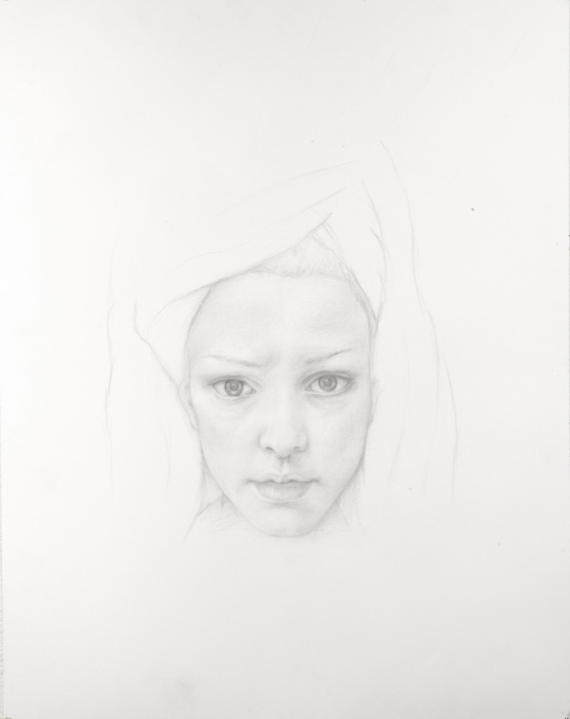 Dan  Witz -  <strong>Rosy Towelhead</strong> (2011<strong style = 'color:#635a27'></strong>)<bR /> silverpoint on paper,   18 x 14 inches (45.72 x 35.56 cm)  24.5 x 20 x 1.5 inches, framed
