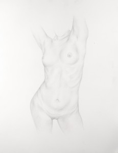 Dan  Witz -  <strong>Torso 1</strong> (2011<strong style = 'color:#635a27'></strong>)<bR /> silverpoint on paper,   18 x 14 inches (45.72 x 35.56 cm)  24.5 x 20 x 1.5 inches, framed