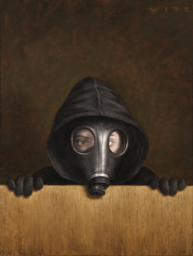 Dan  Witz -  <strong>Tiffy Hoody Gas Mask</strong> (2011<strong style = 'color:#635a27'></strong>)<bR /> oil and digital media on canvas,   20 x 15 inches (50.8 x 38.1 cm)  23.75 x 19.5 inches, framed