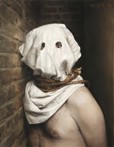 Dan  Witz -  <strong>Tony Hooded</strong> (2011<strong style = 'color:#635a27'></strong>)<bR /> oil and digital media on canvas,   20 x 15 inches (50.8 x 38.1 cm)  23.75 x 19.5 inches, framed
