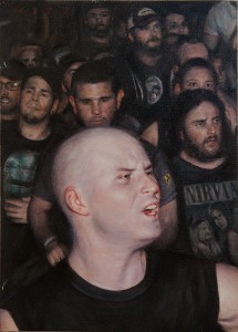 Dan  Witz -  <strong>VOD Club Revolution Study A</strong> (2013<strong style = 'color:#635a27'></strong>)<bR /> oil and digital media on canvas panel,   14 x 18 inches  (35.56 x 45.72 cm)