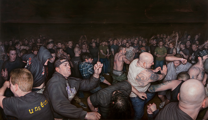"Dan  Witz -  <strong>Vision of Disorder</strong> (2013<strong style = 'color:#635a27'></strong>)<bR /> <span style=""color: rgb(102, 102, 102); font-family: Avenir, Helvetica, Arial, sans-serif;"">oil and digital media on canvas</span>,   40 x 64 inches  (101.6 x 162.64 cm)"