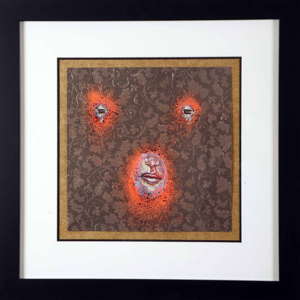 David  Choe -  <strong>Bauer</strong> (2006<strong style = 'color:#635a27'></strong>)<bR /> mixed media on paper,   12 x 12 inches (30.48 x 30.48 cm)  22 x 22 inches, framed