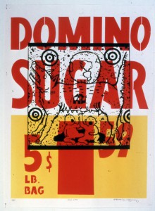 David  Wojnarowicz (estate) -  <strong>Truth Myth (Domino Sugar)</strong> (1983<strong style = 'color:#635a27'></strong>)<bR /> silkscreen on supermarket poster,   33.25 x 25 inches  (84.45 x 63.5 cm),   S/N Edition 23/45