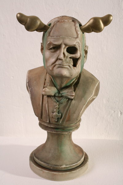 D*Face  &nbsp -  <strong>Dead Head - Winston Churchill</strong> (<strong style = 'color:#635a27'></strong>)<bR /> hand-finished marble, brass and mixed media,   Edition 1 of 10,   12 3/4 x 7 x 5 1/4 inches