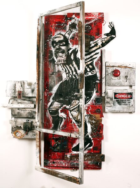 WK  &nbsp -  <strong>Delancey Street</strong> (2009<strong style = 'color:#635a27'></strong>)<bR /> collage and mixed media on found door,   79 3/8 x 68 1/2 x 10 inches [201.6 x 174 x 25.4 cm]