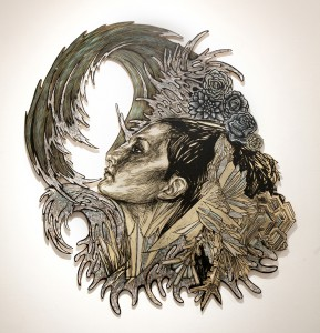 Dennis  McNett -  <strong>Ice Queen in Winter Water</strong> (2013<strong style = 'color:#635a27'></strong>)<bR /> collaboration with Swoon,   woodcarving and pasted woodcut print,   42 x 46 inches  (106.68 x 116.84 cm)