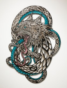 Dennis  McNett -  <strong>Wolfbat Leopard Snake</strong> (2013<strong style = 'color:#635a27'></strong>)<bR /> wood carving and paint,   46 x 32 inches  (116.84 x 81.28 cm)