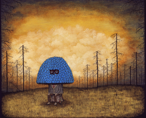Andy  Kehoe -  <strong>Desolation Afflicts the Greedy-hearted</strong> (2009<strong style = 'color:#635a27'></strong>)<bR /> acrylic and oil on panel,   16 x 20 inches