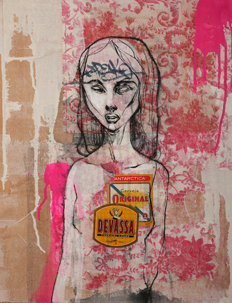 Hamilton  Yokota (Titi Freak) -  <strong>Devassa</strong> (2008<strong style = 'color:#635a27'></strong>)<bR /> Mixed Media on Wood,   22 3/4 x 18 inches