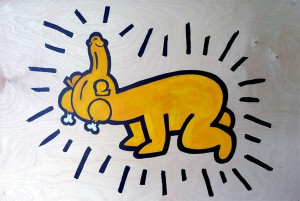 Dickchicken    -  <strong>Haring</strong> (2011<strong style = 'color:#635a27'></strong>)<bR /> acrylic on panel,   24 x 36 inches  (60.96 x 91.44 cm)