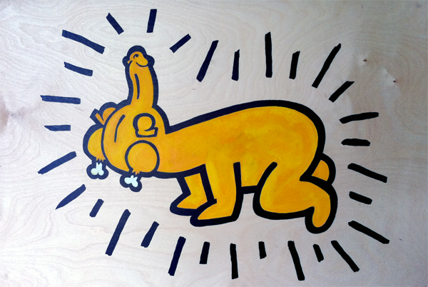 Dickchicken  &nbsp -  <strong>Haring</strong> (2011<strong style = 'color:#635a27'></strong>)<bR /> acrylic on panel,   24 x 36 inches  (60.96 x 91.44 cm)