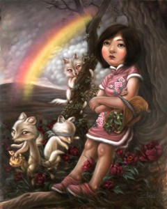 Xiaoqing  Ding -  <strong>At the End of a Rainbow</strong> (2010<strong style = 'color:#635a27'></strong>)<bR /> oil on paper,   40 x 32 inches (101.6 x 81.28 cm)  44 x 36 inches (111.76 x 91.44 cm) framed