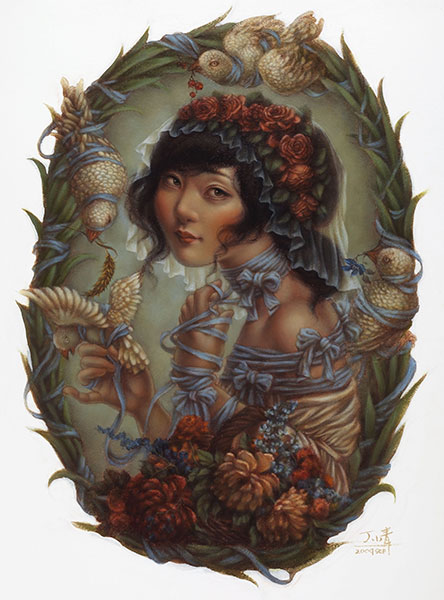 Xiaoqing  Ding -  <strong>Blue Ribbon</strong> (2009<strong style = 'color:#635a27'></strong>)<bR /> oil on paper,   30 x 23 in. (76.2 x 58.4 cm)  35.5 x 28 in. framed