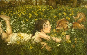 Xiaoqing  Ding -  <strong>Daffodils Field</strong> (2010<strong style = 'color:#635a27'></strong>)<bR /> oil on paper,   28 x 44 inches (71.12 x 111.76 cm)  32 x 48 inches (81.28 x 121.92 cm) framed